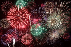 Fireworks. Colorful fireworks over a night sky Royalty Free Stock Image