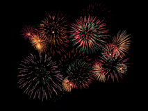Fireworks. Vibrant and colorful fireworks against a dark sky Royalty Free Stock Photos