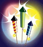 Fireworks. Vector illustration of fireworks - three colourful rockets exploding Royalty Free Stock Images