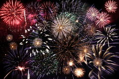 Fireworks. Colorful fireworks over a night sky Royalty Free Stock Photos
