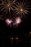 Fireworks. In a shape of two flowers. Taken during the new year celebration in Ascona, Switzerland Stock Photography
