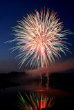 Fireworks. Beautiful display of firworks of the lake Stock Photo