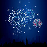 Fireworks. Vector fireworks over a city Royalty Free Stock Photos