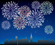 Fireworks. Vector fireworks over a city Royalty Free Stock Photo
