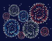 Fireworks. Vector fireworks on the dark sky Royalty Free Stock Photography