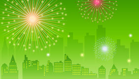 Fireworks. Illustration drawing of beautiful green fireworks background Stock Image