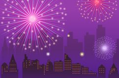 Fireworks. Illustration drawing of beautiful purple fireworks background Royalty Free Stock Photo