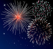 Fireworks. Vector background with three types of fireworks Stock Photo