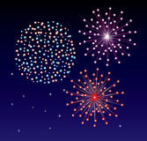 Fireworks. Different colorful fireworks on the dark sky Royalty Free Stock Photo