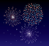 Fireworks. Different colorful fireworks on the dark sky Royalty Free Stock Images
