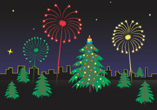 Fireworks. Color fireworks at christmas night Stock Image