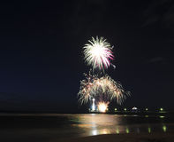 Fireworks. View of new year fireworks at the beach Royalty Free Stock Photography