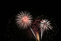 Fireworks. New years fireworks on a black sky royalty free stock photos
