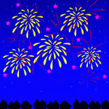 Fireworks. A background image of fireworks over a neighborhood Royalty Free Stock Photography
