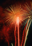 Fireworks. Night party from rockets,Background color Stock Photography