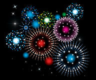 Fireworks. Vector fireworks on black background Stock Photo