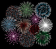 Fireworks. Different fireworks in the black sly Stock Image