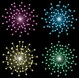 Fireworks. Different fireworks in the black sky Stock Images