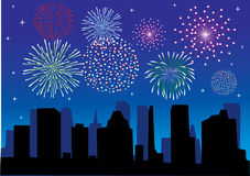 Fireworks. Different fireworks above the city Royalty Free Stock Images