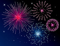 Fireworks. Illustration of four types fireworks background Stock Photos