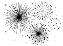 Fireworks. Black and white fireworks background Stock Image