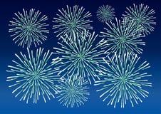 Fireworks. Green fireworks on dark blue sky Stock Image