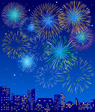 Fireworks. Over a city,  illustration Stock Photo