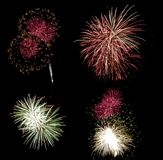 Fireworks. Red and green fireworks grouping Royalty Free Stock Photo