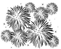 Fireworks. Black and white fireworks background Royalty Free Stock Photos