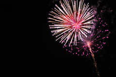 Fireworks. A detailed shot of bright colorful fireworks in the night sky Stock Photography