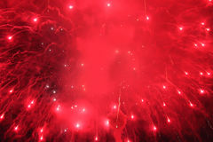 Fireworks. Photo of red fireworks in sky at nigth stock images
