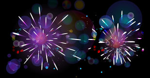 Fireworks. Beautiful fireworks in a night background Stock Photos