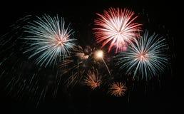 Fireworks. New years fireworks on a black sky stock photos