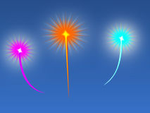Fireworks. Illustration of fireworks. Fire works in three different color on blue background stock illustration