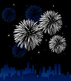 Fireworks. Vector illustration of fireworks over a city Stock Photography