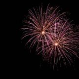Fireworks. Two delicate bursts of fireworks in the night sky Royalty Free Stock Photos