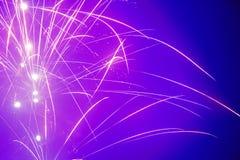 Fireworks. Beautiful violet Fireworks on dark blue background Royalty Free Stock Images