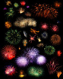 Fireworks. Compilation or collage of multiple fireworks bursting in all kinds of forms and colors, isolated on black background royalty free stock photography