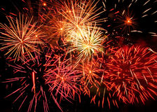 Fireworks. Red and yellow festival fireworks royalty free stock photo