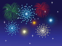 Fireworks. Different fireworks on the dark blue background Royalty Free Stock Image