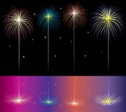 Fireworks. Illustration of fireworks reflected in water Stock Photography