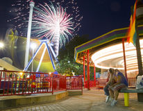 Fireworks. In an amusement park Stock Photography
