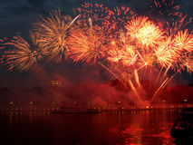 Fireworks. And reflections on a water royalty free stock images