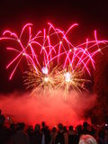 Fireworks. Crowd watching a firework display Royalty Free Stock Photography