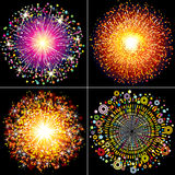 Fireworks. Collection of Colorful vector fireworks, sparklers and salute explosions Stock Image