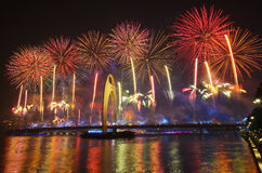 The Fireworks of The 16th Asian games. Fireworks of The 16th Asian games in Guangzhou China Stock Photo