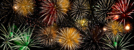 Fireworks. A colorful fireworks display with multiple explosions Royalty Free Stock Images