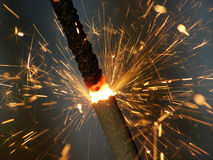 Fireworks. Close-up of sparkler making lots of sparks Royalty Free Stock Image