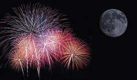 Fireworks. Fireworks in the sky with full moon Stock Photo