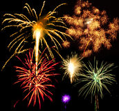 Fireworks. With black sky background royalty free stock photos